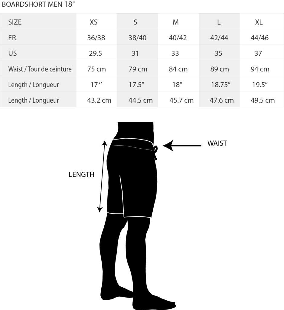 Size Chart boardshort KDC 18