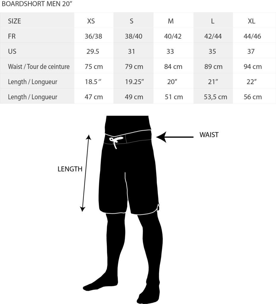 Size Chart Boardshort KDC 20