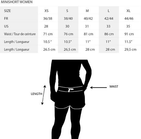 Tableau des taille short femme