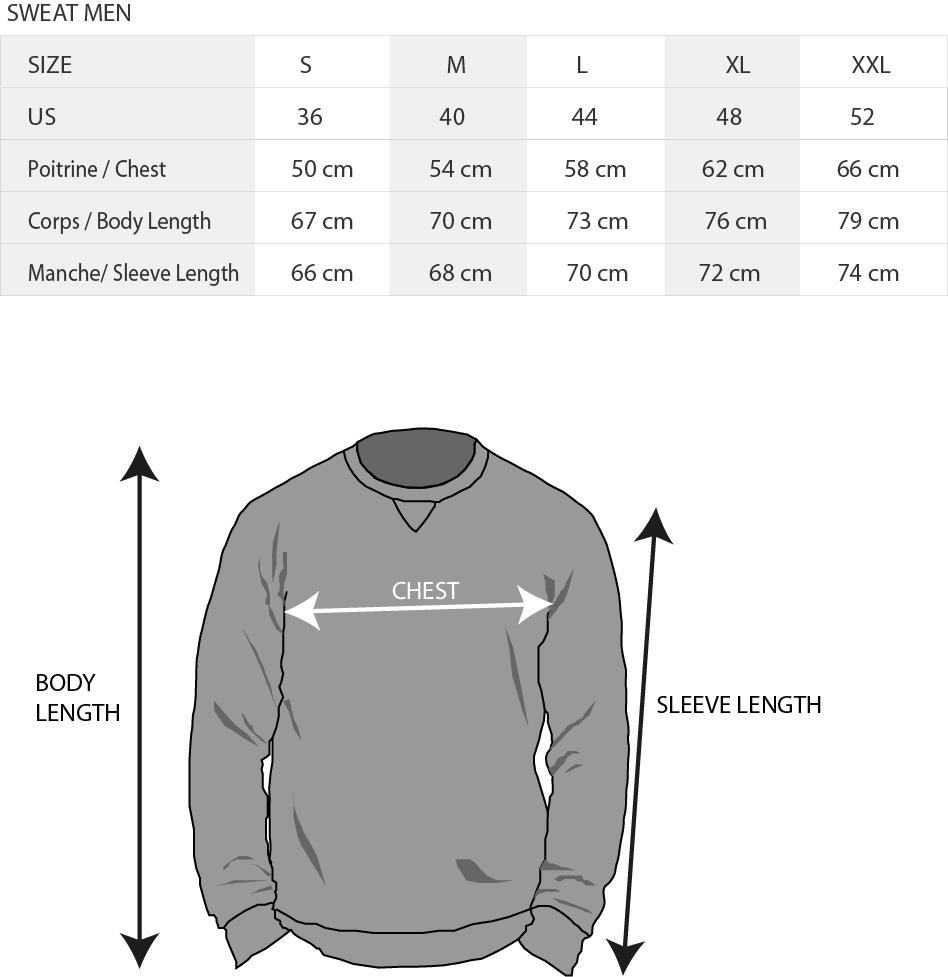Tableau taille sweat KDC Surfwear